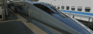 image of a Japanese high speed train in station