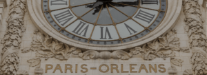 Image of the clock at paris Orlean Railway Station. CityRailway.com