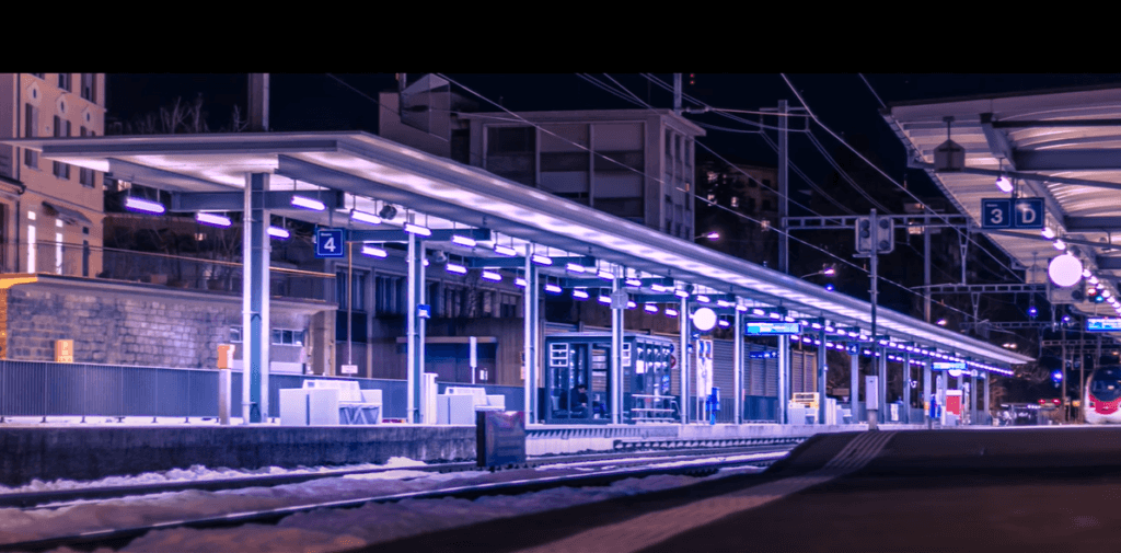 image of lugano Centrale Station at night
