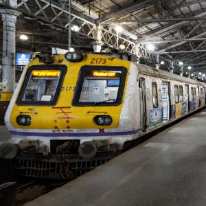 Passenger Train inside Chhatrapati Shivaji Terminus