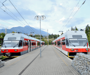 image of two commuter electric trains