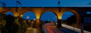 Stockport Railway Viaduct viewed at sunset